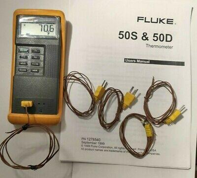 Fluke 50d Kj Digital Thermometer Dual Input K Or J-type Thermocouple