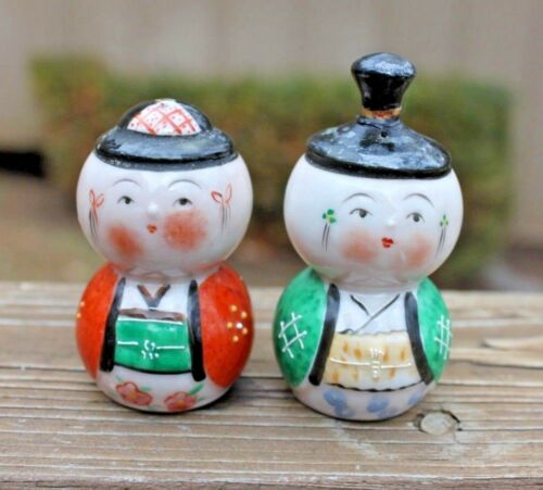 Vintage Figural Japanese Man & Woman Hand Painted Salt & Pepper Shaker Set