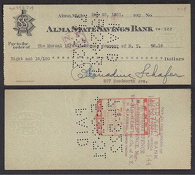 CHECK==ALMA STATE SAVINGS BANK==MUTUAL LIFE INS. CO. of NEW YORK=Alma, MI==1931