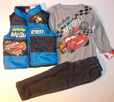Disney Cars Toddler Boys 3pc Outfit Vest Long Sleeve Shirt Pants Size 24M NWT ()