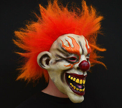 Creepy Evil Scary Halloween Clown Mask Rubber Latex FLAMED CLOWN