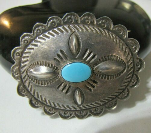 """Sterling Silver Turquoise Concho Pin Native Southwest Stamp Work Scalloped 2"""""""