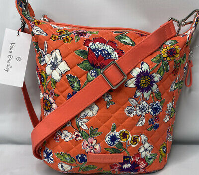 Vera Bradley CARSON MINI Hobo Bag Crossbody Purse Coral Floral Adjustable NWT
