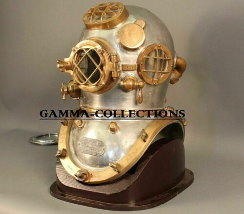 COPPER VINTAGE BRASS LONDON NAVY MARK V DIVING DIVERS HELMET SCUBA DEEP SEA SCA