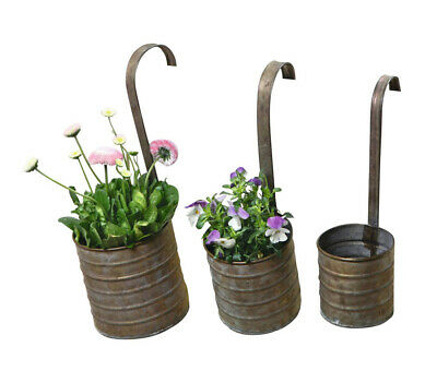 Hanging Metal Flower Planters with Hanging Handles, Set of T