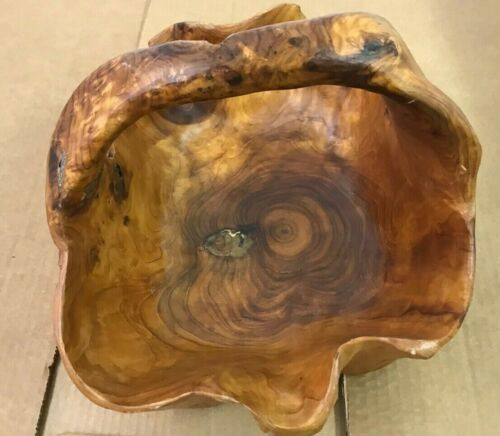 Burl Wood Hand Carved Basket with Handle