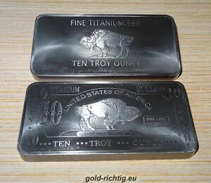 10 oz Titanbarren Büffel (American Buffalo Titan Barren Titanium Unze Unzen) NEU