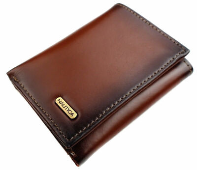 Nautica Men's Leather Credit Card Passcase Wallet Trifold