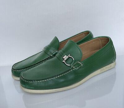 Salvatore Ferragamo Designer Green Leather Mens Loafers Shoes Size 12 2E