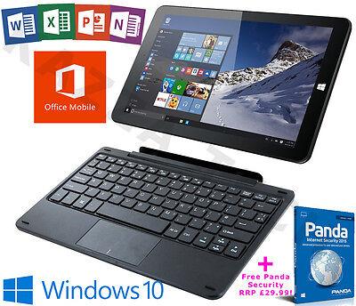 """Linx 1010B Intel Quad Core 32GB 2GB Windows 10 Office 10.1"""" Tablet Keyboard Dock"""