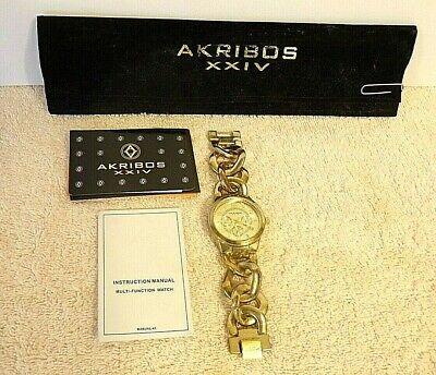 Women's Akribos XXIV AK531YG Twist Chain Quartz Multifunction Bracelet Watch