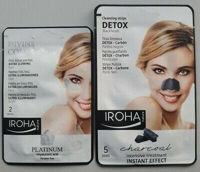 Iroha Nature Extra Glow Under Eye Patches  Platinum & Detox Blackhead Strips New