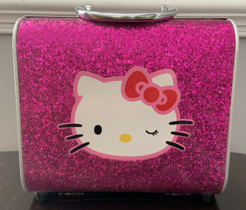 HELLO KITTY Pink Glitter Small Hard Side Mirror Case Luggage Travel Carry On - $12.00