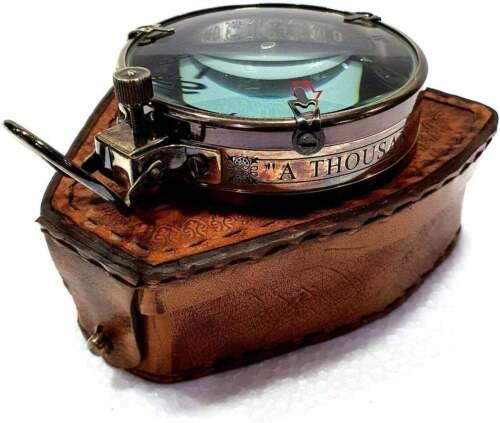 "Antique nautical brass map reader compass 3"" navigation compass w/ leather case"