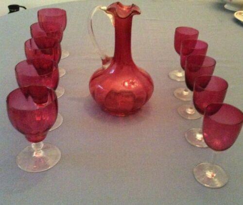 Vintage Cranberry Decanter Pitcher, Five Water Glasses, Five Wine Glasses