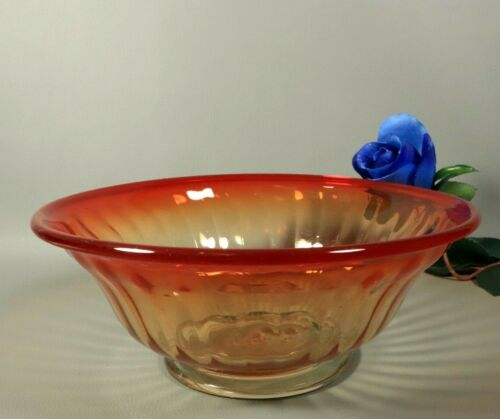 RARE Antique French Early Victorian Centerpiece Bowl Amberina Hand Blown Glass