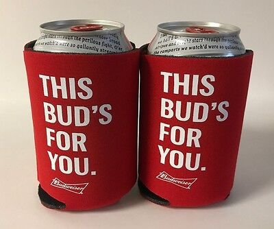 Budweiser Beer THIS BUD'S FOR YOU. Koozie Fits 12 oz Cans Bottles (2) ~ NEW & FS