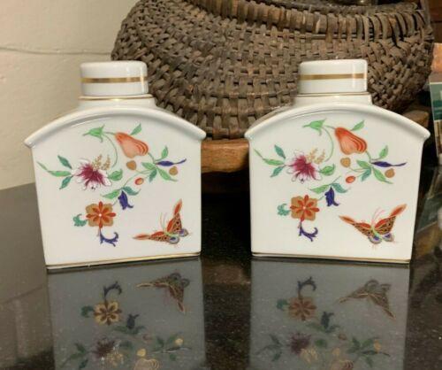 "2 Vista Alegre Samatra Pattern 4 3/4"" Porcelain Tea Caddies Portugal - Pristine"