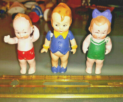 VINTAGE HTF BISQUE KEWPIE DOLLHOUSE DOLLS TWINKIE HAMILTON BROWN SHOE CO LOT
