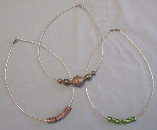 TRADE BEADS VENETIAN MILLEFIORI LOT OF 3 NECKLACE ROUND OMEGA STERLING SILVER