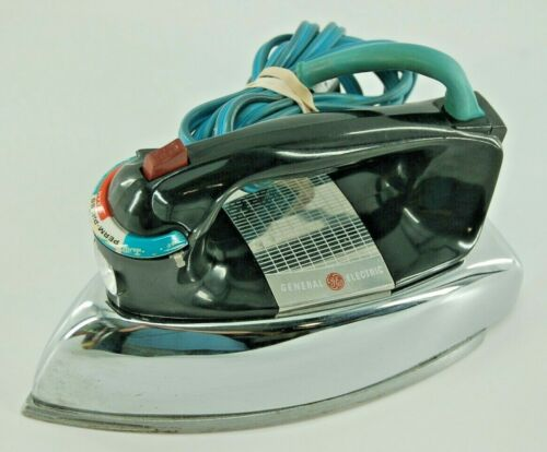Vintage Chrome General Electric Steam and Dry Iron 810 H3F63 Made in USA Working