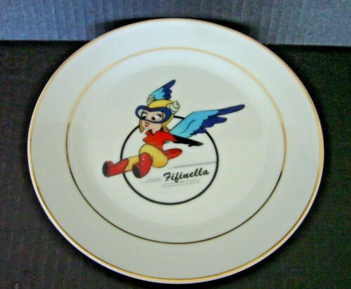 """RARE DISNEY FIFINELLA GREMLIN WWII WASP AIRFORCE PILOTS 8"""" PORCELAIN PLATE GOLD"""