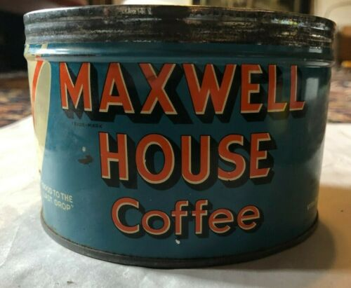 Maxwell House Coffee Tin - Vintage - no lid - 1 pound orange type