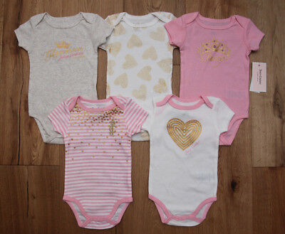 - Juicy Couture Baby Girl 5 Piece Bodysuit Set ~ Pink, White & Gold ~ Hearts ~