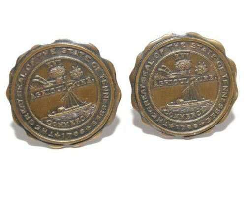 Vintage State Seal Tennessee Agriculture Commerce XVI Cuff Links Satin Gold Tone