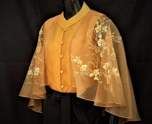 Modern FILIPINIANA Silk CAPE BLOUSE BARONG Philippine National Costume - GOLD
