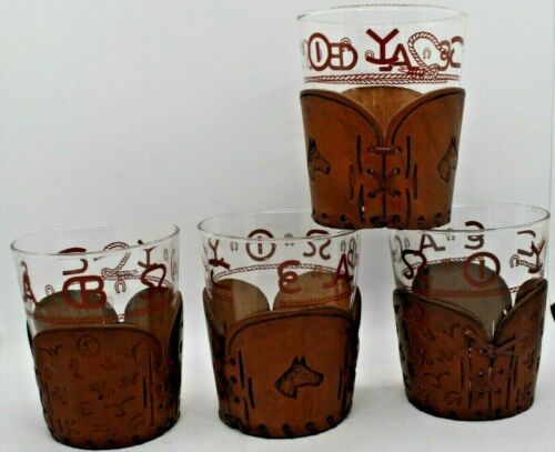 4 Vintage Bamco Western BRANDS HORSE Rocks Glasses w/US Made Leather Holders