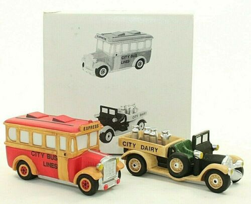 Department 56 Transport Set of 2 Milk Truck Dairy City Bus Vehicles Accessory
