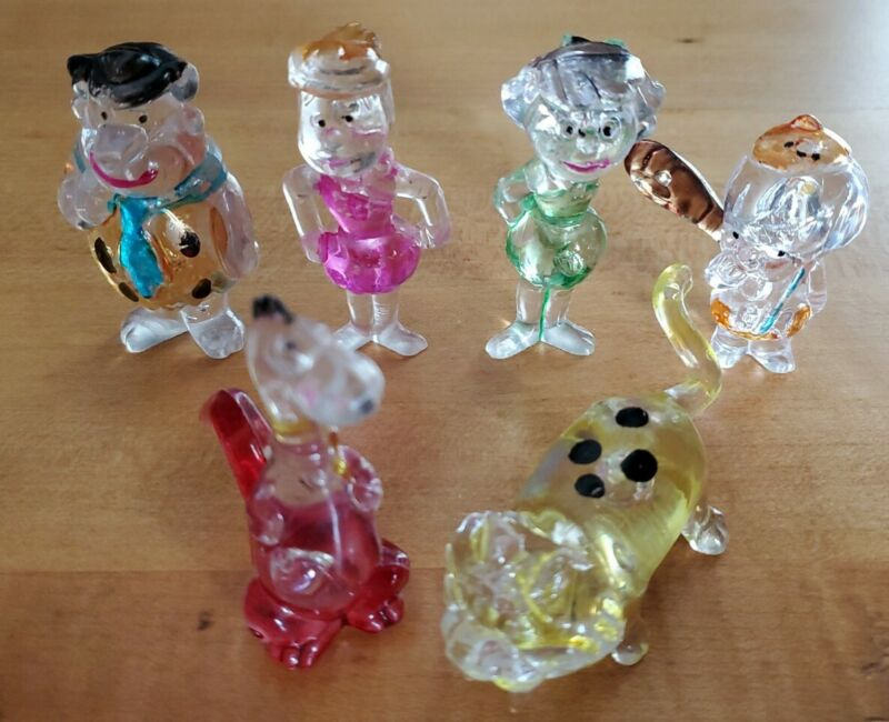 6 Vintage 1976 Imperial Clear Plastic Flintstone Toys! Fred, Wilma, BamBam, Dino