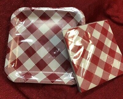 Set of BBQ Picnic Red Gingham Lunch Napkins 13