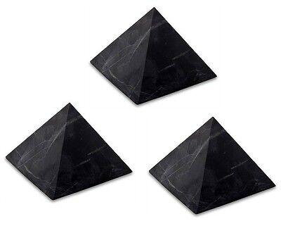 "3 x Shungite UNPOLISHED pyramid 2"" (51mm) Original Healing Stone Karelia Russia"