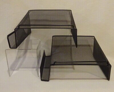 Set Of 2 Rolodex Black Wire Mesh Phone Stand 22151 Desk Top Home Business Office