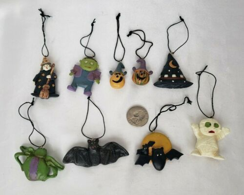 """Lot Set of 9 Mini Halloween Ornaments Resin Small 2"""" Flat with Dimension"""