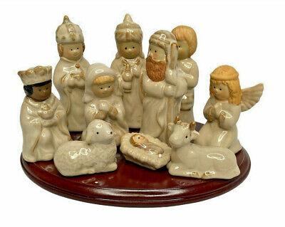 Kirkland's Potter's Garden Nativity Scene With Wooden Base - LNIB - Hand-Painted
