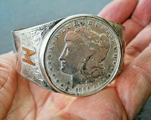 Southwestern 1880 Silver Dollar Coin Sterling Silver 10K Gold M S Bracelet