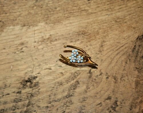 Vintage 14K Yellow Gold Floral Wish Bone Seed Pearl & Blue Enamel Pin Brooch