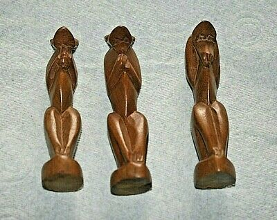 THREE VINTAGE WOODEN MONKEY FIGURES - Hear, speak and see no evil