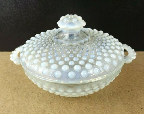 Anchor Hocking Moonstone Opalescent Hobnail Candy Box or Jar (item#a2)