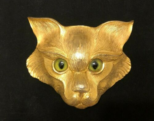 CHRISTOPHER ROSS GREEN/GOLD EYE CAT BELT BUCKLE 24K Gold Pl 1988 **SUPER RARE**