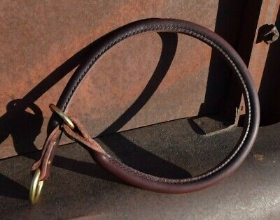 High Quality Handcrafted Round Stitched Latigo Leather Slip Collar Solid Brass Handcrafted Leather Dog Collar