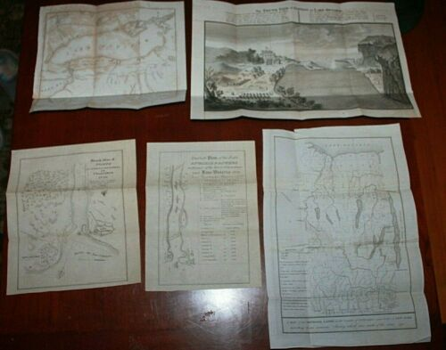 1849 Five Antique Maps Oswego Ontario, Forts Genessee Gavit & Duthie