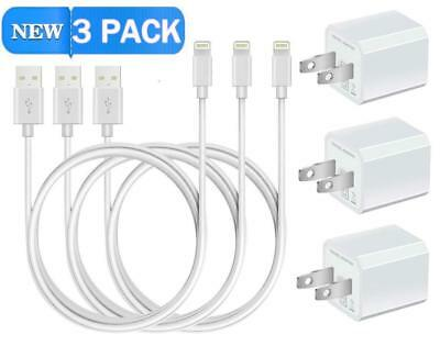 Wall Charger Home Travel Adapter Samsung iPhone 7 3ft Sync Cable 8 Pin 3 Pack, used for sale  Shipping to India