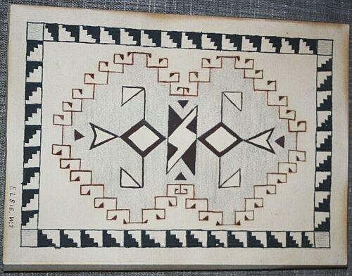 "Native American(Pueblo)Drawing of Weave Pattern by Elsie W M, Dated 1932 8""x 11"""