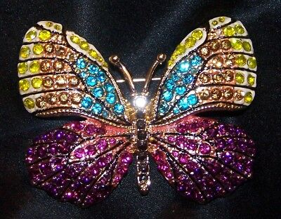 Napier RHINESTONE BUTTERFLY PIN BROOCH-MULTI COLORED-SIGNED-NEW