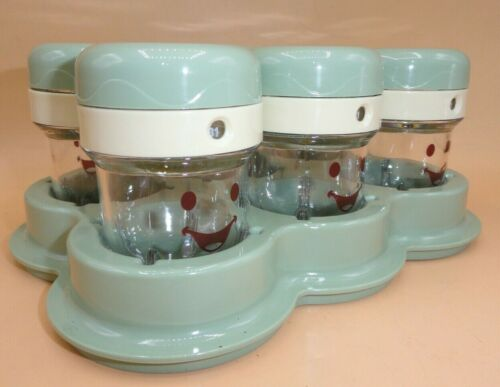 Baby Bullet Food Jars Containers Tray Green Lids Date Dial Brand New (Qty 6)
