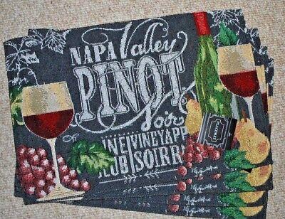 Napa Valley Pinot -  SET OF 4 TAPESTRY PLACEMATS/NAPA VALLEY PINOT WINE/VINEYARD/GRAPES/GRAY NWT